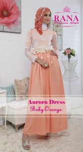 baju muslim cantik modern Gaun-Pesta-Muslim-Aurora-Dress-by-Rana-Princes-style-Baby-Orange