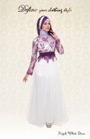 model gaun Fashion Gaun-Pesta-Muslim-Purple-White