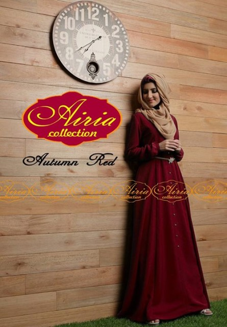 baju pesta yg terbaru Gaun-Pesta-Muslim-Autumn-Dress-Dan-Rain-Koko-Red