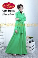 baju muslim modern pesta Gaun-Pesta-Muslim-City-Dress-by-Airia-Green-Pastel