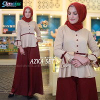 Azka Set Cream Maroon